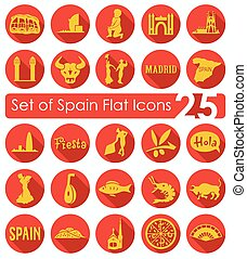 Set of Spain icons - Set of Spain flat icons for Web and...
