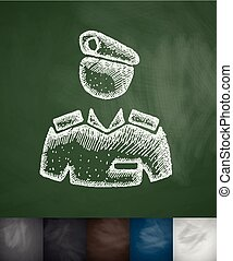commander icon Hand drawn Chalkboard Design