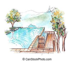 swimming pool infinity edge water colour illustration -...