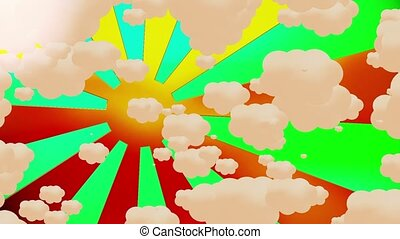 Abstract sunburst with clouds on green