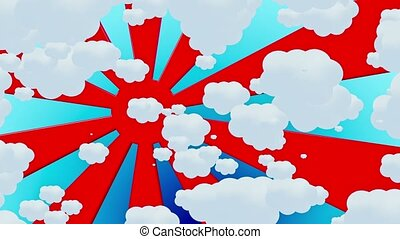 Abstract red sunburst with clouds on blue