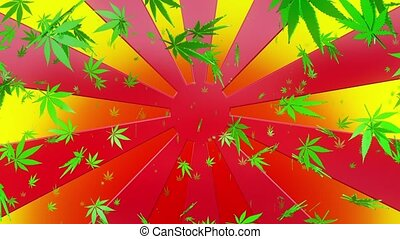 Abstract sunburst with cannabis leaves on multicolored...