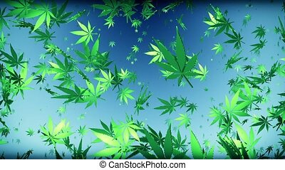 Flying cannabis leaves on dark blue