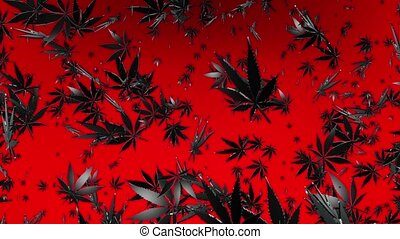 Flying cannabis leaves on red
