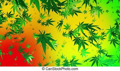 Flying cannabis leaves on multicolored background
