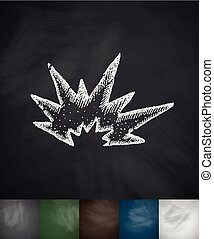 explosion icon. Hand drawn vector illustration. Chalkboard...