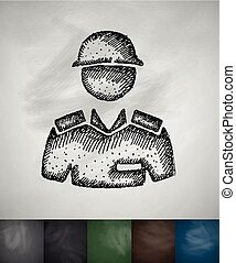 soldier icon Hand drawn vector illustration Chalkboard...