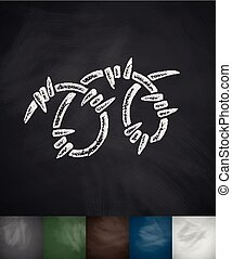 barbed wire icon Hand drawn vector illustration Chalkboard...
