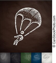 paratrooper icon Hand drawn vector illustration Chalkboard...
