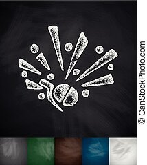 grenade icon Hand drawn vector illustration Chalkboard...