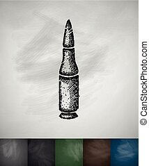 gun cartridge icon Hand drawn vector illustration Chalkboard...