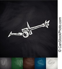 cannon bombs icon Hand drawn vector illustration Chalkboard...