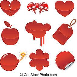 Set of red symbols. Isolated. EPS 8, AI, JPEG