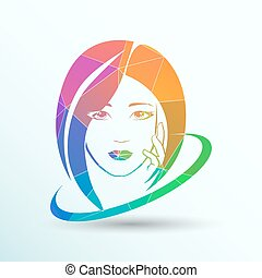 Woman face fashion girl beauty illustration vector