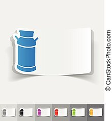 realistic design element water-can - water-can paper sticker...