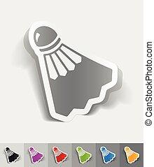 realistic design element shuttlecock - shuttlecock paper...