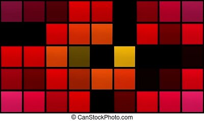 Abstract flashing squares in red and yellow