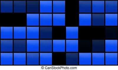 Abstract flashing squares in blue