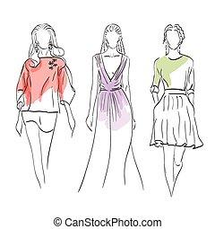モデル, セット, ファッション