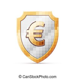shield with euro sign - Illustration of an isolated shield...