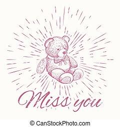 Teddy bear and vintage sun burst frame Miss you