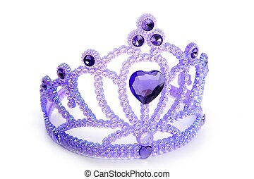 Children purple blue crown with plastic gem - Children...