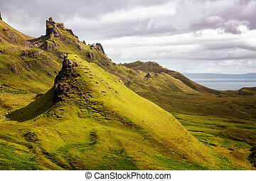 Quiraing mountains - Scenic view of Quiraing mountains, a...