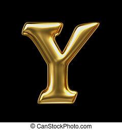 LETTER Y in golden metal