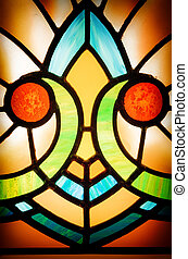 Stained glass detail - Detail of an old, 1920s style Art...