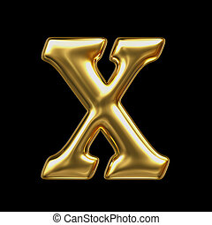 LETTER X in golden metal - Letter in gold metal on a black...