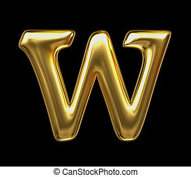 LETTER W in golden metal - Letter in gold metal on a black...