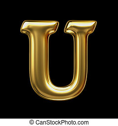 LETTER U in golden metal - Letter in gold metal on a black...