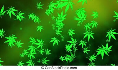 Flying cannabis leaves on green