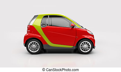 Small city car in light studio, sideview