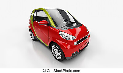 Small city car in light studio