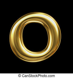 LETTER O in golden metal - Letter in gold metal on a black...