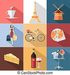 Set of France travel colorful flat icons, France symbols...