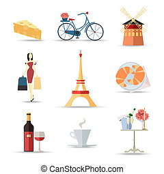 Set of France isolated travel colorful flat icons, France...