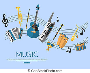Music background with music instruments Flat style design...