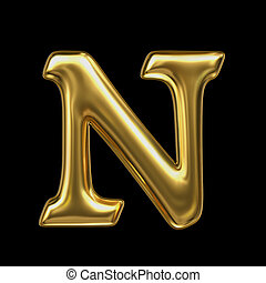 LETTER N in golden metal - Letter in gold metal on a black...