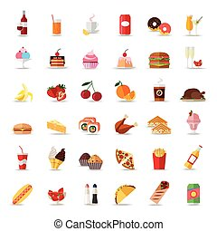 Set of colorful food and drinks icons. Flat style design isolated icons.