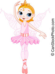 Cute fairy ballerina - Vector Illustration of Little Cute...