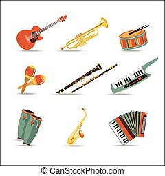 Set of music instruments Flat style design Vector...