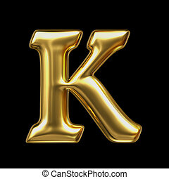 LETTER K in golden metal - Letter in gold metal on a black...