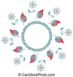 Elegance round floral pattern, vector illustration