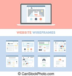 Website Wireframes - Vector set of flat website wireframes...