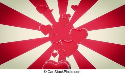 Red Hearts on sunburst in red color