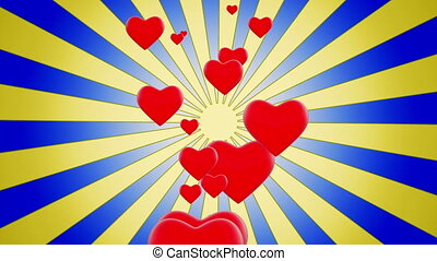 Red Hearts on sunburst in blue-yellow color