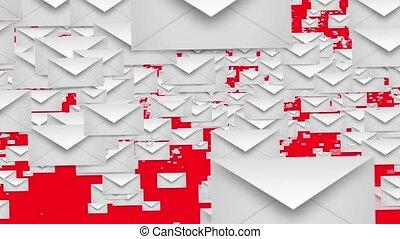 Envelopes in white on red