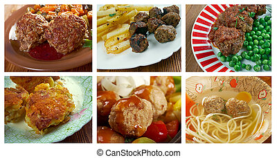 set of different meatballs - Food set of different meatballs...
